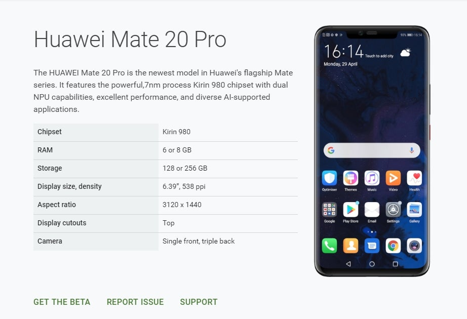 Huawei Mate 20 Android Q